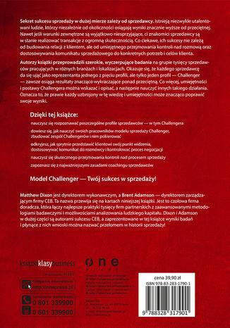 Tył okładki książki/ebooka Sprzedawaj jak Challenger. Strategie kontroli komunikacji z klientem