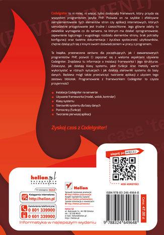 Tył okładki książki/ebooka CodeIgniter. Zaawansowane tworzenie stron w PHP