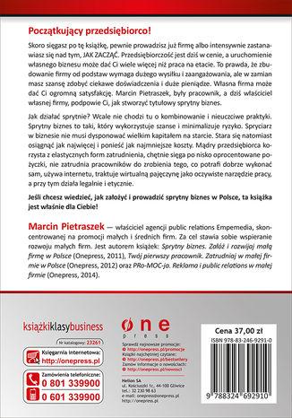 Tył okładki książki Sprytny biznes. Załóż i rozwijaj małą firmę w Polsce. Wydanie II rozszerzone