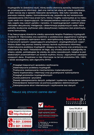 Tył okładki książki/ebooka Podstawy kryptografii. Wydanie III
