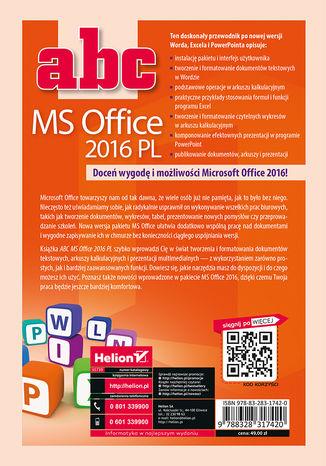 Tył okładki książki/ebooka ABC MS Office 2016 PL