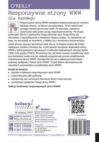 Tył okładki książki Responsywne strony WWW dla każdego