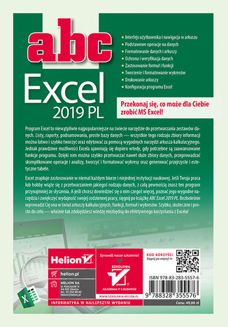 Tył okładki książki/ebooka ABC Excel 2019 PL