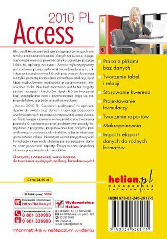 Tył okładki książki/ebooka Access 2010 PL. Ćwiczenia praktyczne