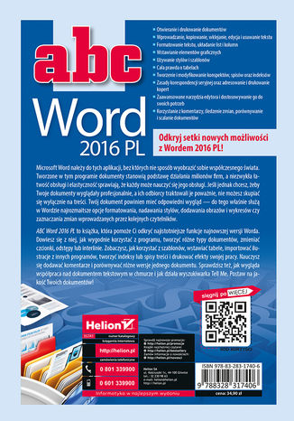 Tył okładki książki ABC Word 2016 PL