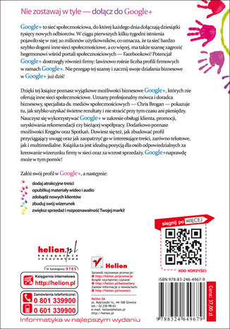 Tył okładki książki Google+ dla biznesu