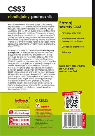 Tył okładki książki/ebooka CSS3. Nieoficjalny podręcznik. Wydanie III