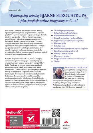 Tył okładki książki/ebooka Programowanie. Teoria i praktyka z wykorzystaniem C++. Wydanie III