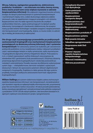 Tył okładki książki/ebooka Kryptografia i bezpieczeństwo sieci komputerowych. Koncepcje i metody bezpiecznej komunikacji