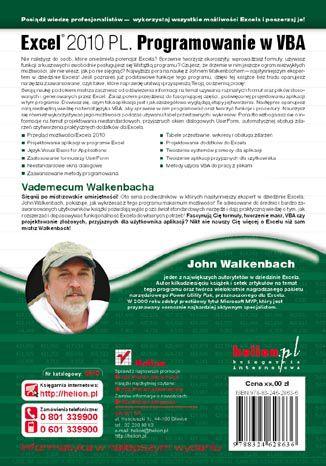 Tył okładki książki Excel 2010 PL. Programowanie w VBA. Vademecum Walkenbacha