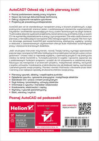 Tył okładki książki/ebooka AutoCAD 2022 PL. Pierwsze kroki