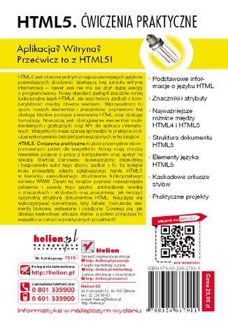 Tył okładki książki HTML5. Ćwiczenia praktyczne