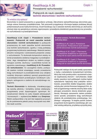 Tył okładki książki/ebooka Kwalifikacja A.36. Część 1. Prowadzenie rachunkowości. Podręcznik do nauki zawodów technik ekonomista i technik rachunkowości