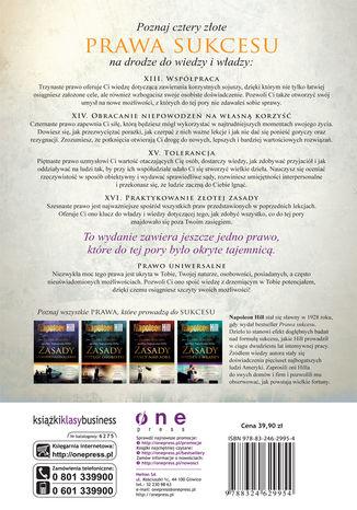Tył okładki książki/ebooka Prawa sukcesu według Napoleona Hilla. Zasady wiedzy i władzy