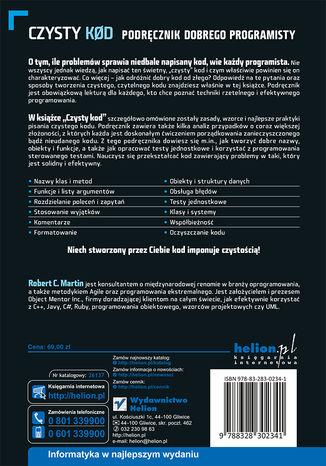 Tył okładki książki Czysty kod. Podręcznik dobrego programisty