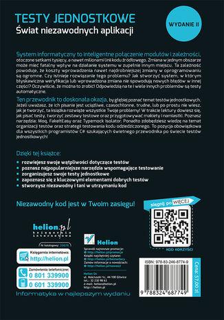Tył okładki książki Testy jednostkowe. Świat niezawodnych aplikacji. Wydanie II