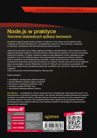 Tył okładki książki/ebooka Node.js w praktyce. Tworzenie skalowalnych aplikacji sieciowych