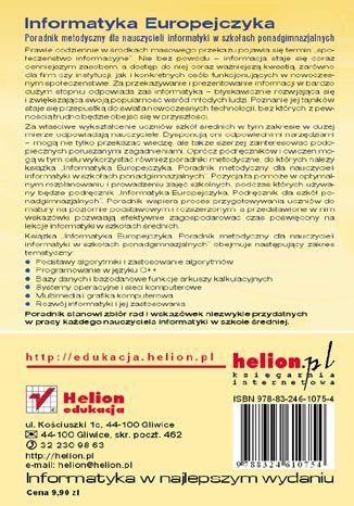 Tył okładki książki/ebooka Informatyka Europejczyka. Poradnik metodyczny dla nauczycieli informatyki w szkołach ponadgimnazjalnych