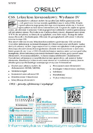 Tył okładki książki CSS. Leksykon kieszonkowy. Wydanie IV