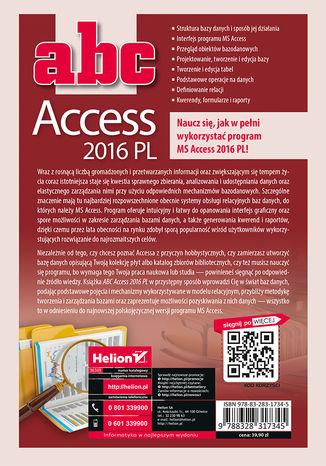 Tył okładki książki/ebooka ABC Access 2016 PL