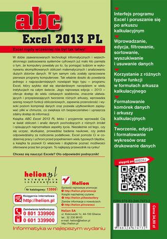 Tył okładki książki/ebooka ABC Excel 2013 PL