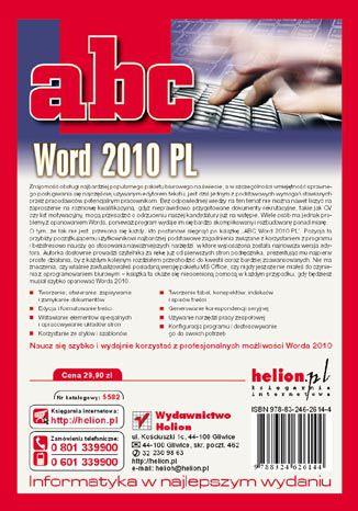 Tył okładki książki/ebooka ABC Word 2010 PL