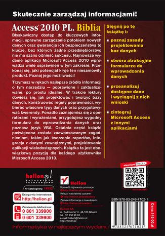Tył okładki książki/ebooka Access 2010 PL. Biblia