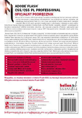 Tył okładki książki Adobe Flash CS5/CS5 PL Professional. Oficjalny podręcznik