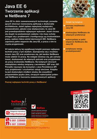 Tył okładki książki Java EE 6. Tworzenie aplikacji w NetBeans 7