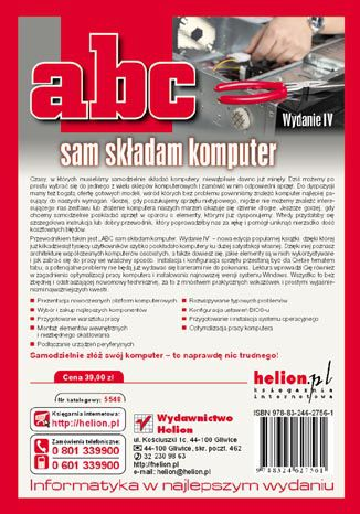 Tył okładki książki/ebooka ABC sam składam komputer. Wydanie IV
