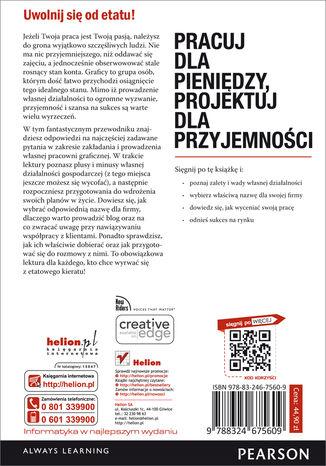Tył okładki książki Pracuj dla pieniędzy, projektuj dla przyjemności. Podręcznik freelancera