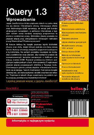 Tył okładki książki/ebooka jQuery 1.3. Wprowadzenie