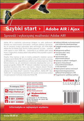Tył okładki książki/ebooka Adobe Air i Ajax. Szybki start