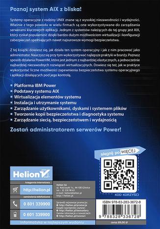 Tył okładki książki/ebooka AIX, PowerVM - UNIX, wirtualizacja, bezpieczeństwo. Podręcznik administratora