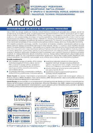 Tył okładki książki/ebooka Android. Programowanie aplikacji na urządzenia przenośne. Wydanie II