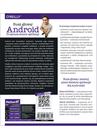 Tył okładki książki/ebooka Android. Programowanie aplikacji. Rusz głową!