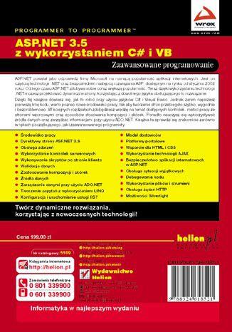 Tył okładki książki/ebooka ASP.NET 3.5 z wykorzystaniem C# i VB. Zaawansowane programowanie