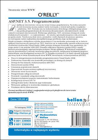 Tył okładki książki/ebooka ASP.NET 3.5. Programowanie