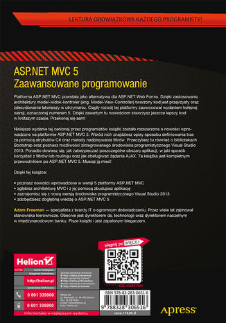 Tył okładki książki/ebooka ASP.NET MVC 5. Zaawansowane programowanie