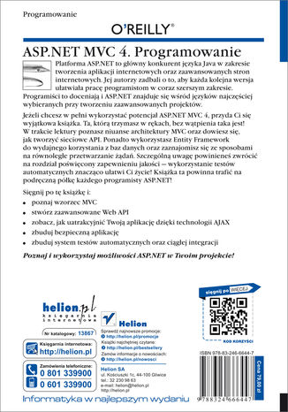 Tył okładki książki/ebooka ASP.NET MVC 4. Programowanie