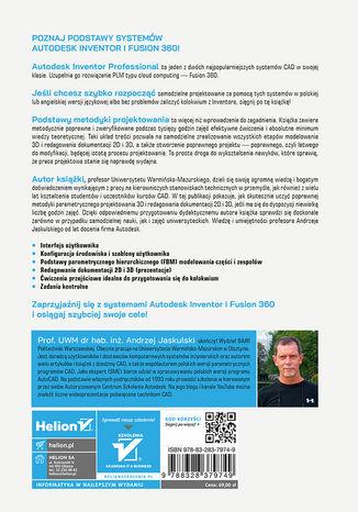 Tył okładki książki/ebooka Autodesk Inventor 2022 PL / 2022+ / Fusion 360. Podstawy metodyki projektowania