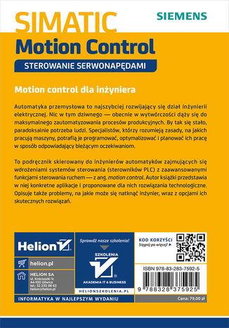 Tył okładki książki/ebooka SIMATIC Motion Control - sterowanie serwonapędami. Teoria. Aplikacje. Ćwiczenia