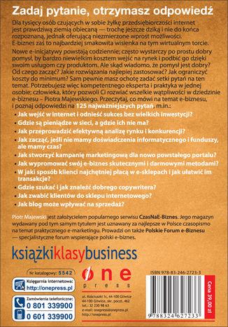 Tył okładki książki 125 pytań na temat e-biznesu do Piotra Majewskiego