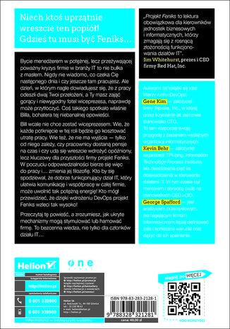 Tył okładki książki Projekt Feniks. Powieść o IT, modelu DevOps i o tym, jak pomóc firmie w odniesieniu sukcesu