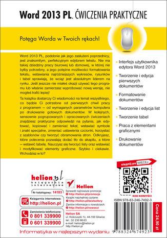 Tył okładki książki/ebooka Word 2013 PL. Ćwiczenia praktyczne