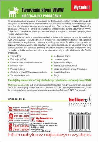 Tył okładki książki/ebooka Tworzenie stron WWW. Nieoficjalny podręcznik. Wydanie II