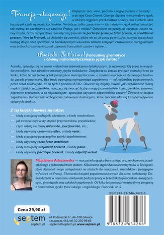 Tył okładki książki/ebooka C'est du gâteau, czyli bułka z masłem! Repetytorium z języka francuskiego od poziomu podstawowego do b1/b2