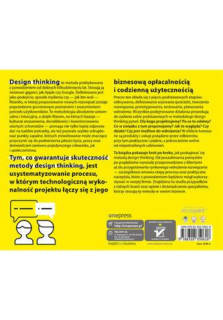 Tył okładki książki/ebooka Poradnik design thinking, czyli jak wykorzystać myślenie projektowe w biznesie