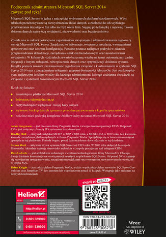 Tył okładki książki/ebooka Microsoft SQL Server 2014. Podręcznik administratora