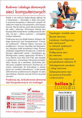 Tył okładki książki Budowa i obsługa domowych sieci komputerowych. Ćwiczenia praktyczne